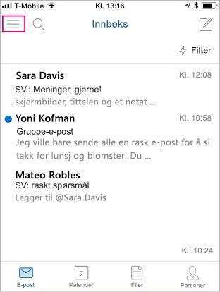 Startskjermbilde til Outlook Mobile, med menyknappen uthevet