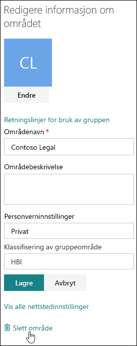Dokumentinformasjonspanelet for SharePoint-område
