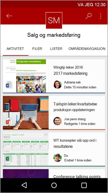Skjermbilde av Android mobilapp som viser aktivitet på området, fil, lister og navigasjon