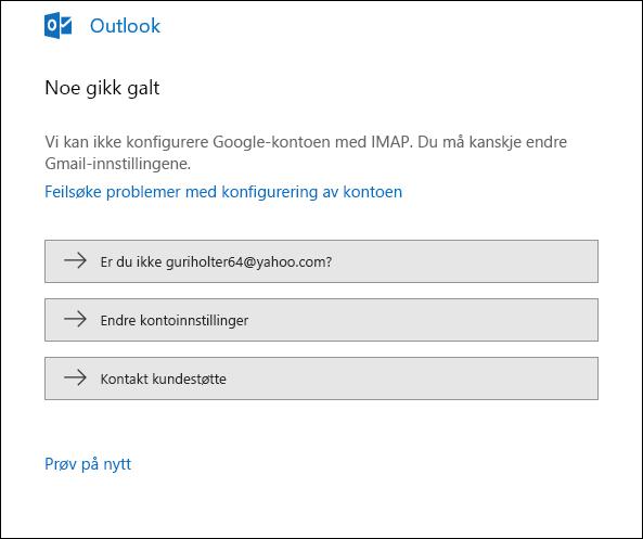 Noe gikk galt under forsøk på å legge til en e-postkonto i Outlook.