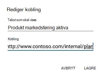 Dialog boksen tekst for hyperkoblinger i Outlook for Android