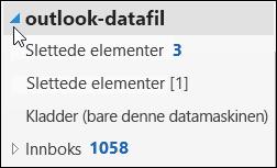 Hvis du vil åpne Datafil for outlook, velger du pilen ved siden av it.