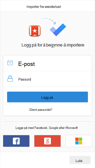 Be om å logge på for å begynne å importere med alternativet for å logge på med e-post og passord eller med Facebook, Google eller Microsoft