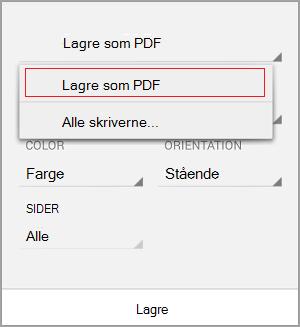 Velg Lagre som PDF
