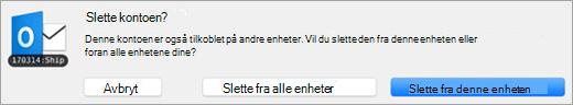 Et skjermbilde av dialogboksen Slett konto