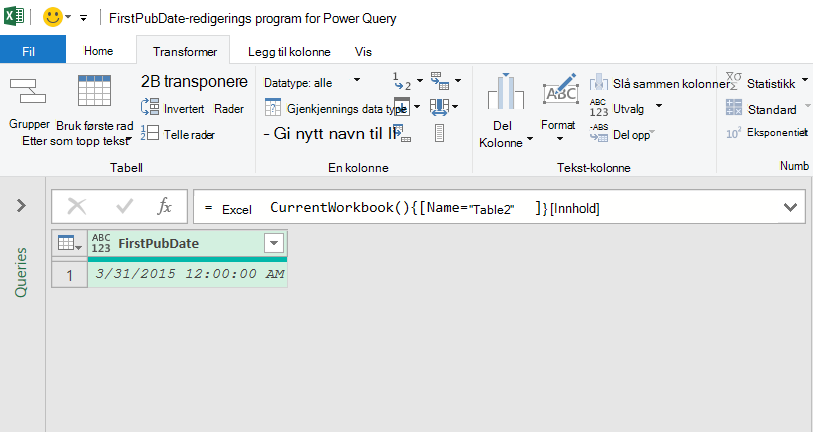 Excel-tabell data lastet inn i Power Query Editor