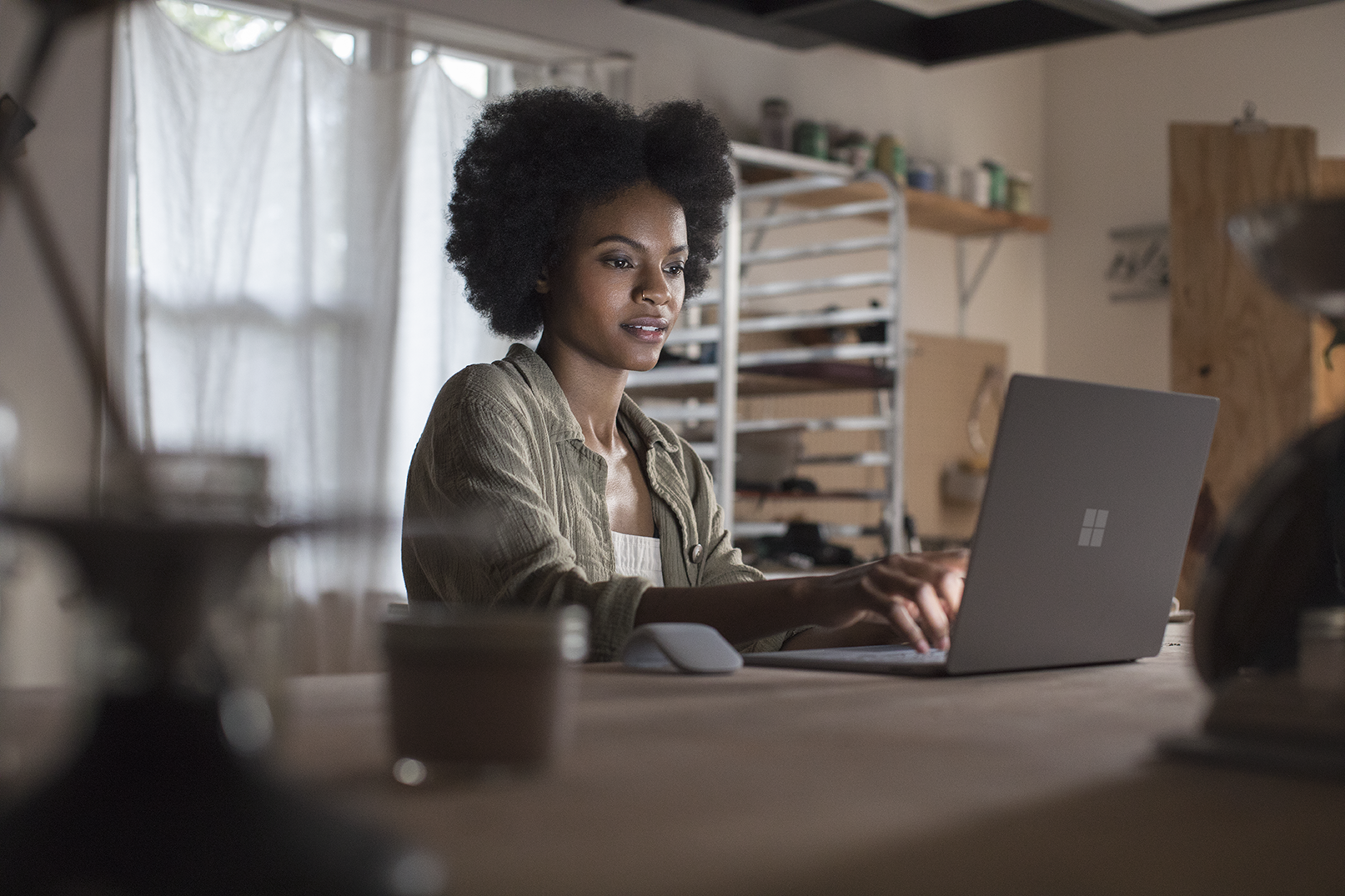 Woman using a local experience pack on a PC
