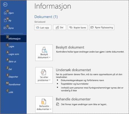 Informasjons side i fil-menyen i Word for Windows