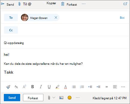 Skrive en ny e-post i Outlook på nettet