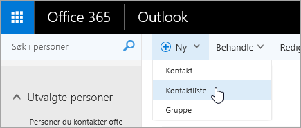 Et skjermbilde av hurtigmenyen for knappen «Ny» med «kontaktliste» valgt.