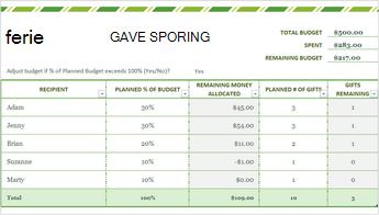 Bilde av mal for gave liste i hellig dager i Excel