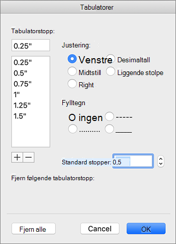 Dialog boksen for Mac-fanen