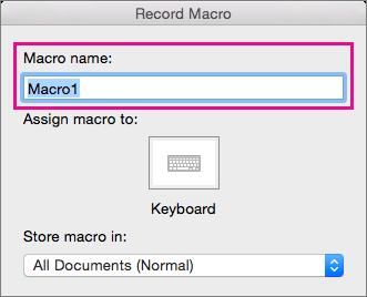 Skriv inn et navn på makroen i Makronavn, eller godta det generiske navnet som leveres av Word.