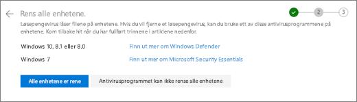 Skjerm bilde av siden rens alle enhetene dine på OneDrive-nettstedet