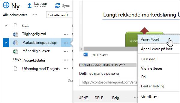Meny alternativet åpne > åpen i app valgt for en Word-fil i klassisk visning av OneDrive online-portalen