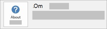 Skjermbilde av Om Office-knapp for en MSI-installasjon. Det inneholder ikke versjons- eller byggnummer