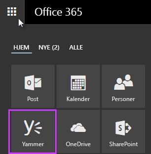 Skjermbilde av startprogrammet for apper for Office 365 som viser Yammer