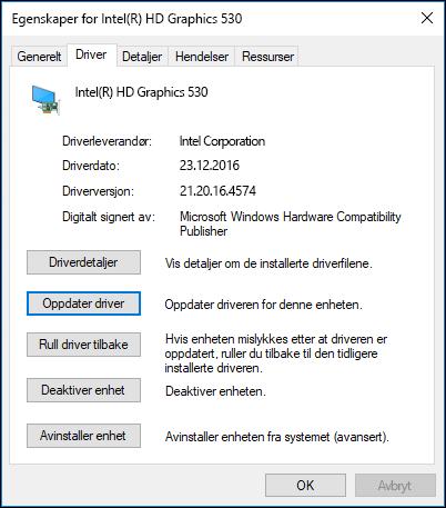 Gå til Driver-fanen for å oppdatere eller rulle tilbake en enhetsdriver