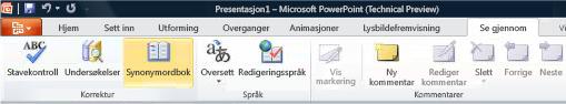 Synonymordbok på Se gjennom-fanen i PowerPoint
