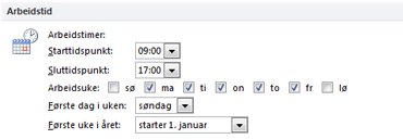 Arbeidstid-delen i dialogboksen Alternativer for Outlook