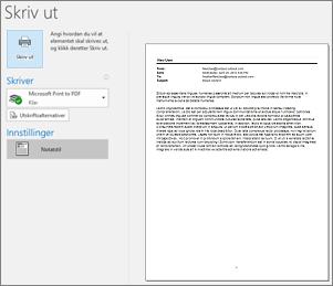 Utskriftsforhåndsvisning av Outlook e-postmelding