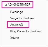 Viser administratormenyen i Office 365. Velg det tredje alternativet som er Azure AD.