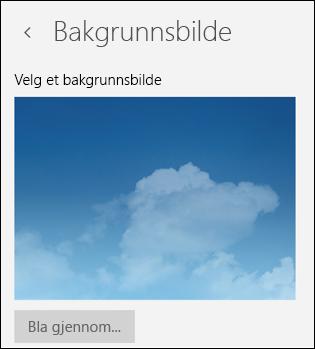 Bakgrunnsbilde i E-post-appen