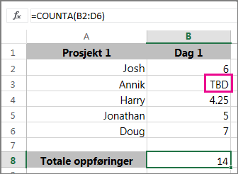 CountA-funksjon med en rekke valg