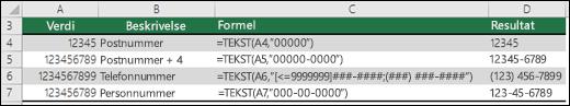 Spesielle formater for TEKST-funksjonen