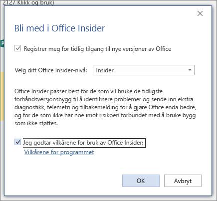 Dialog boksen bli med i Office Insider