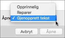 Klikk på Åpne > Gjenopprett tekst og åpne deretter det skadede dokumentet for å forøke å gjenopprette det