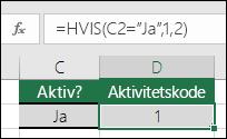 """Cell D2 inneholder en formel =HVIS(C2=""""Ja"""",1,2)"""