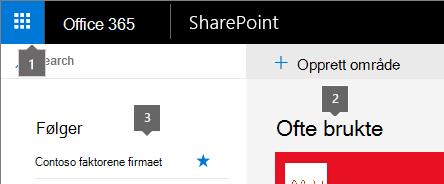 SharePoint Online øvre venstre hjørne av startskjermen.