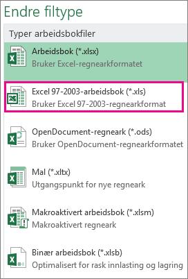 Excel 97-2003-arbeidsbokformat