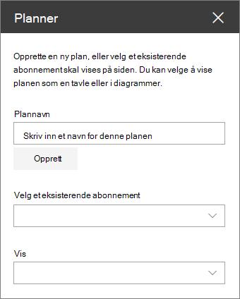Verktøy kasse for webdelen Planner