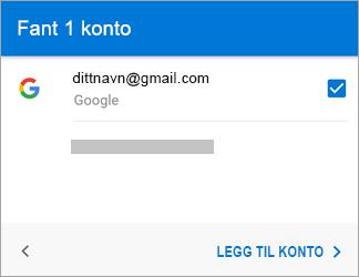 Trykk på Legg til konto for å legge til Gmail-kontoen i appen