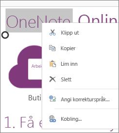 Hurtigmeny i OneNote Online på en berøringsenhet