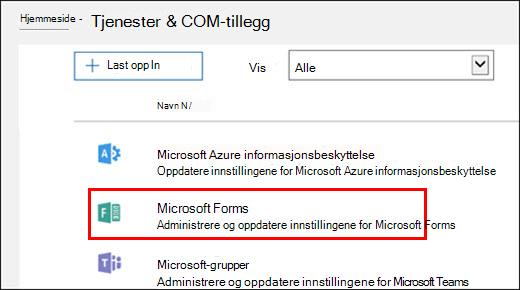 Administratorinnstillinger for Microsoft Forms
