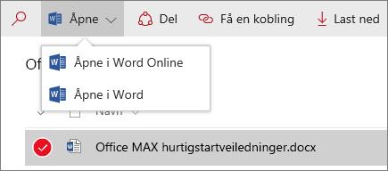 Skjermbilde av Åpne-menyen i et dokumentbibliotek for ny opplevelse.