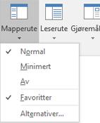 Normal er valgt på Mapperute-menyen.