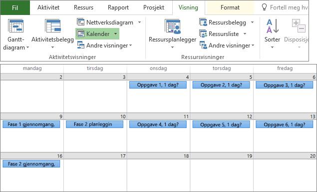 Sammensatt skjermbilde av gruppene Aktivitetsvisninger og Ressursvisninger på Vis-fanen og en prosjektplan i kalendervisning.