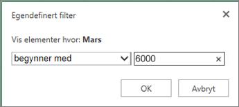 bruke et egendefinert filter for å vise verdiene under et bestemt vilkår