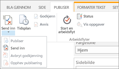 Submit, publish buttons on the Publish tab in Edit mode.