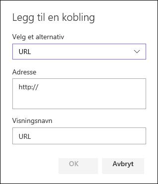 Legge til en URL-kobling i den venstre navigasjonsruten til et SharePoint-gruppeområde
