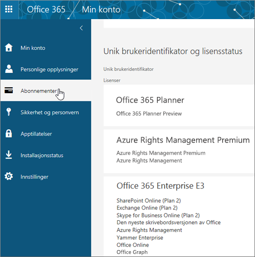 Siden for Office 365-abonnementer