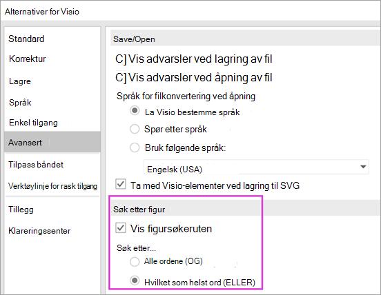 Alternativer for Visio \ Avansert \ figur søkeinnstillinger