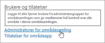Administratorer for områdesamling uthevet under brukere og tillatelser