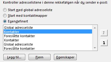 Du kan bruke pilene til å definere rekkefølgen Outlook prioriterer adressebøkene dine.
