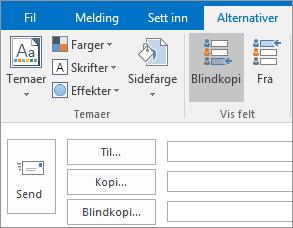 Hvis du vil aktivere Blindkopi-feltet, åpner du en ny melding, velger Alternativer-fanen, og deretter velger du Blindkopi i Vis felt-gruppen.