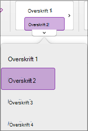Overskriftstil-meny i OneNote for Mac,